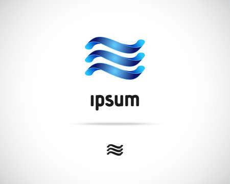 Abstract Vector Logo Design Template. Creative Blue Wavy Concept Icon Vector