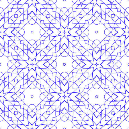 tangier: Vector Seamless Illustration of Blue Tangier Grid, Abstract Guilloche Background Illustration