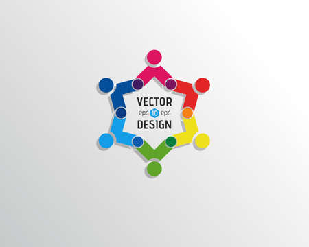 group of elements: Abstract Vector icon Design Template. Creative Circle of People Icon