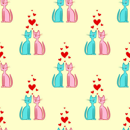 loving: Vector Seamless Pattern of Two Loving Cats with Heart Illustration