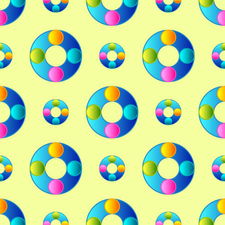 Creative Vector Seamless Children Background with Colorful Circles