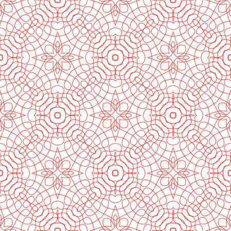 Vector Seamless Illustration of Red Tangier Grid, Abstract Guilloche Background Vector