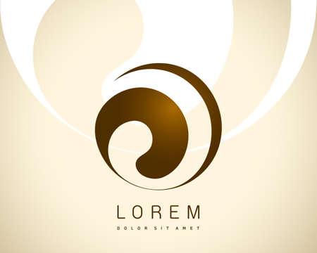 抽象的なベクトルのロゴのデザイン テンプレートです。コンセプト アイコン ラウンド創造的なブラウン