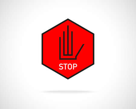 restrictive: Stop hand sign abstract red emblem