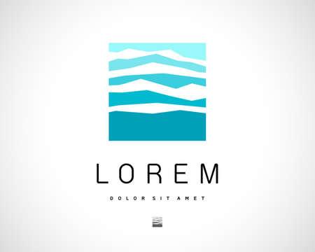 logotipo turismo: Resumen Vector azul del logotipo de plantilla de dise�o. Creativo Icono Concepto Square. S�mbolo Monta�a