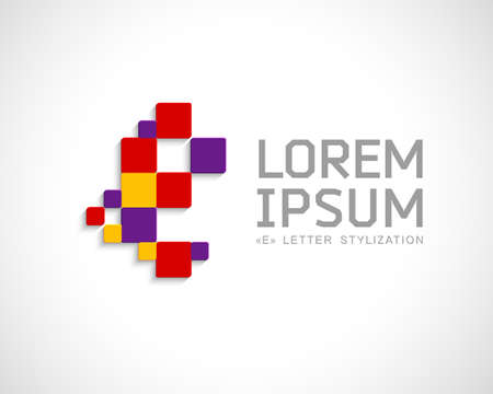 pixeled: Abstract Vector Logo Design Template. Creative Concept Icon. Letter E Stylization Illustration