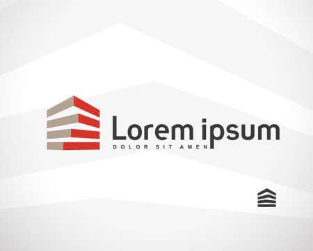 logotipo de construccion: Casa abstracta Inmobiliaria Campo Logo plantilla de diseño de la empresa. Edificio de la silueta del vector. Vectores