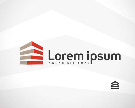 logo batiment: Maison Résumé Immobilier Campagne Logo Design Modèle pour la Compagnie. Bâtiment Vector Silhouette.
