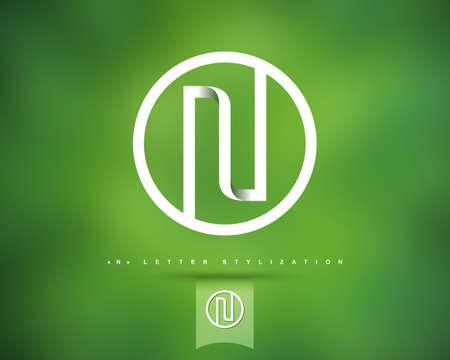 抽象的なベクトルのロゴのデザイン テンプレートです。創造的なコンセプトの丸いアイコン。N の文字スタイル設定  イラスト・ベクター素材