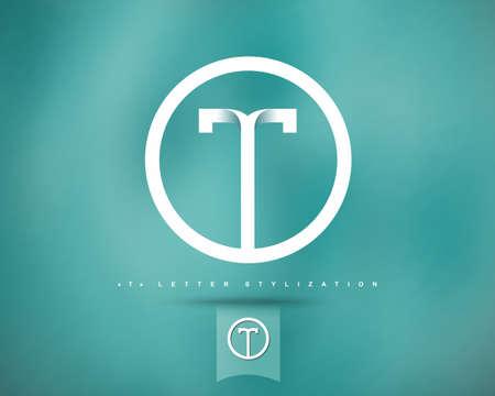抽象的なベクトルのロゴのデザイン テンプレートです。創造的なコンセプトの丸いアイコン。T の文字スタイル設定