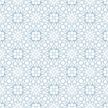 tangier: Vector Blue Seamless Illustration of Tangier Grid, Abstract Guilloche Background