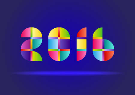 january 1: Happy New Year 2016. Vector Abstract Design Colorful Numbers on Blue Background Illustration