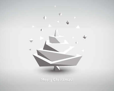 paper art: Abstract Vector 3d Christmas Tree on White Background