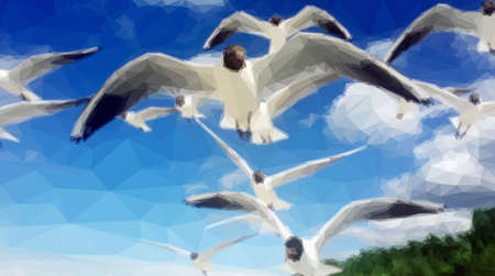 large group of animals: Flock of Seagulls Fly over the Blue Sky. Polygonal Illustration Illustration