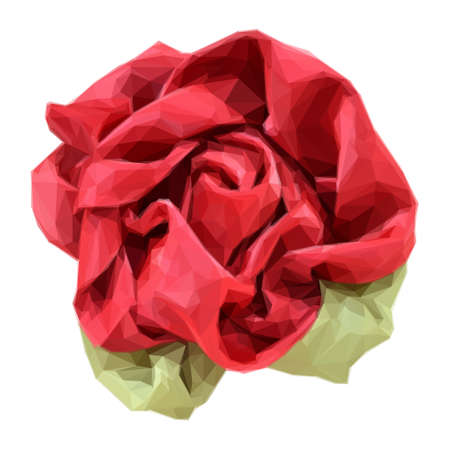 satiny: Rose Made from Red and Green Fabric Isolated on White Background. Polygonal Illustration