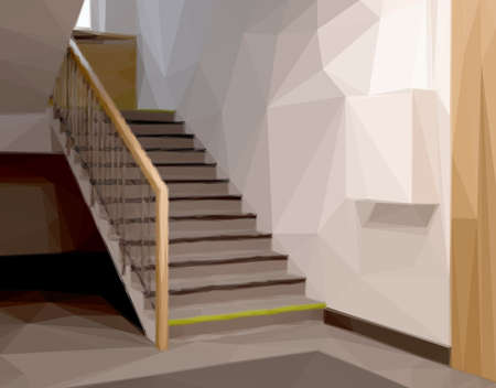 railings: Stairs in Office or Entrance. Vector Low Poly Illustration. Design Interior