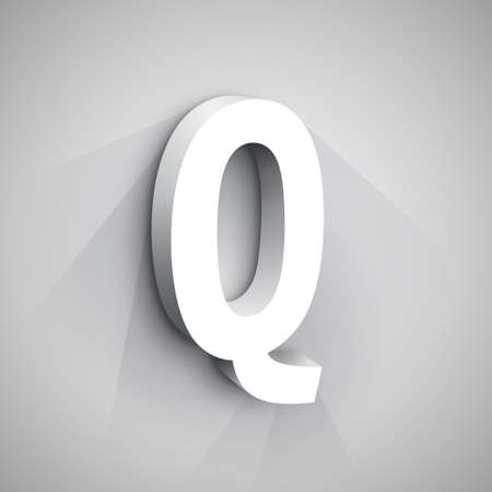 letter q: Abstract icon Design Template. Creative 3d Concept Icon. Letter Q Stylization Illustration