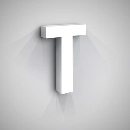 t square: Abstract Design Template. Creative 3d Concept Icon. Letter T Stylization