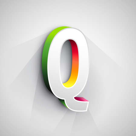 letter q: Abstract Vector Logo Design Template. Creative 3d Concept Icon. Letter Q Stylization