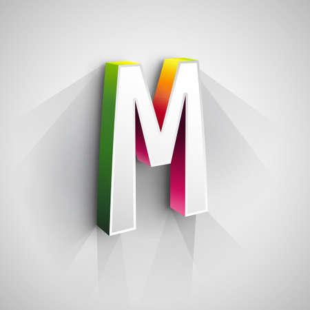 Resumen de la insignia del vector plantilla de diseño. Concepto creativo del icono 3d. La estilización de la letra M Ilustración de vector