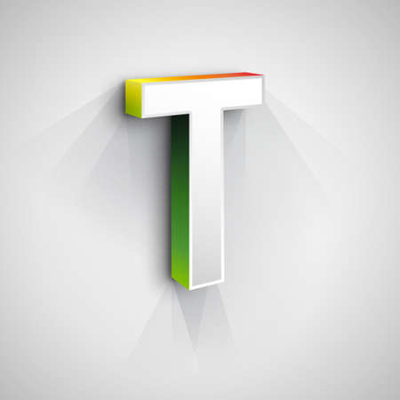 t square: Abstract Vector Logo Design Template. Creative 3d Concept Icon. Letter T Stylization Illustration