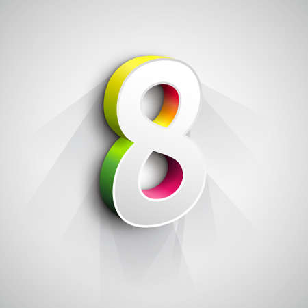 figure of eight: Vector 3d Number Eight. White figure 8 on Gray Background