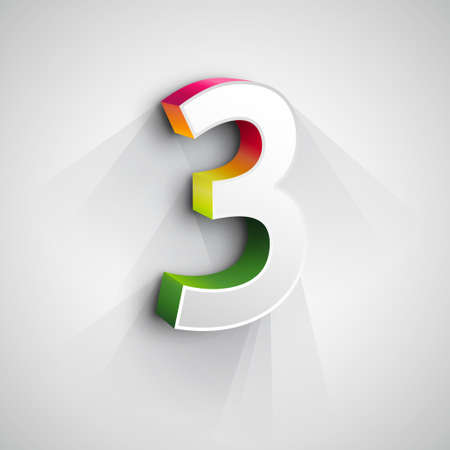 numers: Vector 3d Number Three. White figure 3 on Gray Background