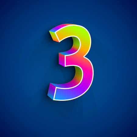 numers: Vector 3d Number Three. Colorful figure 3 on Blue Background