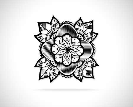 Icona del concetto di fiore creativo. Modello di disegno di marchio di eco astratto di vettore. Emblema da linee disegnate a mano nera. Vettoriali
