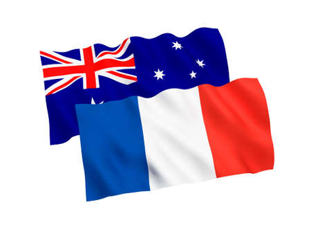 Flags of France and Australia on a White Background