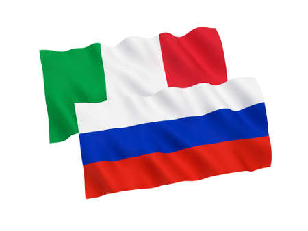 National fabric flags of Russia and Italy isolated on white background. 3d rendering illustration.
