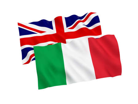 National fabric flags of Italy and Great Britain isolated on white background. 3d rendering illustration.