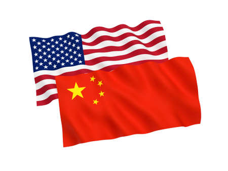 National fabric flags of China and America isolated on white background. 3d rendering illustration. Imagens - 109539305