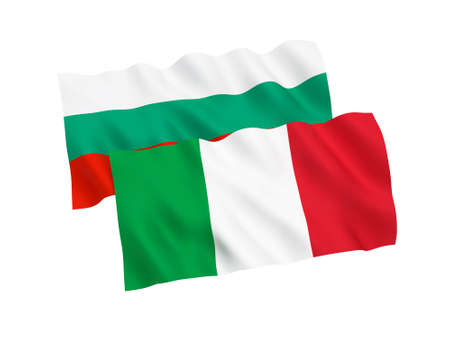 National fabric flags of Italy and Bulgaria isolated on white background. 3d rendering illustration.