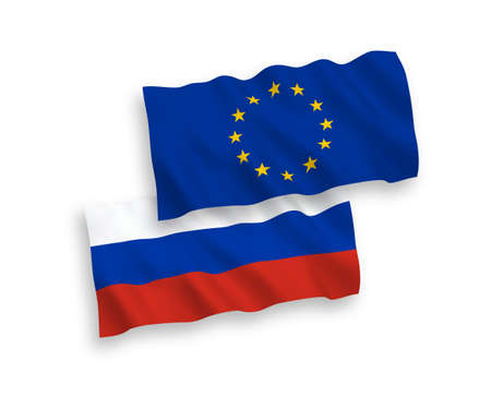 Vector Russian and European Union flags isolated on white background. Stok Fotoğraf