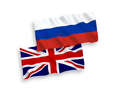 Great Britain and Russian flags isolated on white background. Vector illustration of the United Kingdom und Russia waving flags