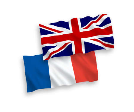 National vector fabric wave flags of France and Great Britain isolated on white background.