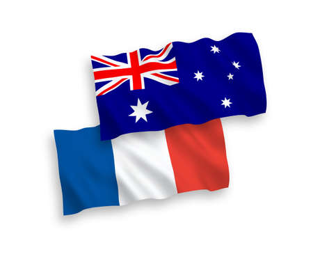 National vector fabric wave flags of France and Australia isolated on white background.