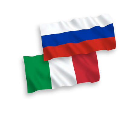 National vector fabric wave flags of Russia and Italy isolated on white background. 일러스트