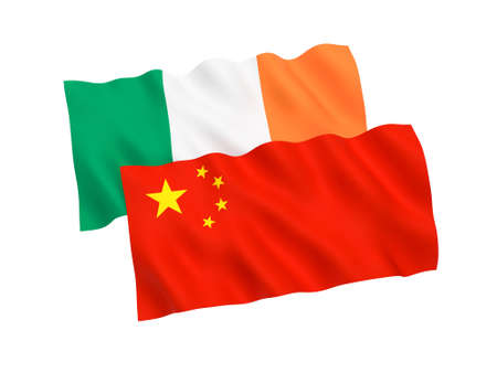 National fabric flags of Ireland and China isolated on white background. 3d rendering illustration. Stock Photo