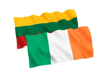 National fabric flags of Ireland and Lithuania isolated on white background. 3d rendering illustration. Stock Photo
