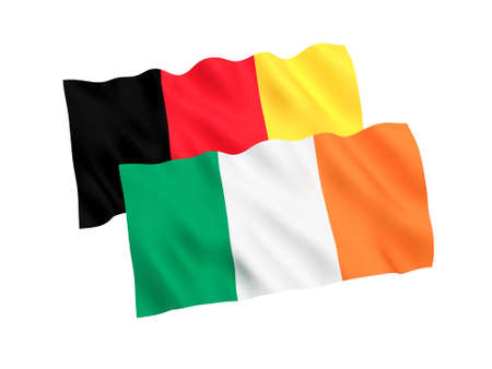 National fabric flags of Belgium and Ireland isolated on white background. 3d rendering illustration.