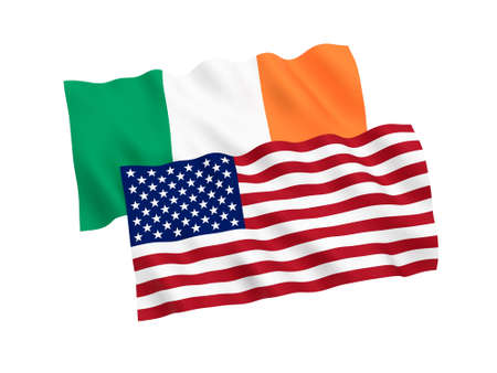 National fabric flags of Ireland and America isolated on white background. 3d rendering illustration.