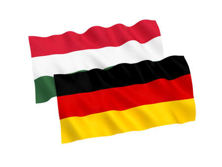 National fabric flags of Germany and Hungary isolated on white background. 3d rendering illustration. Stock Photo