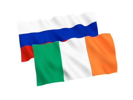 National fabric flags of Russia and Ireland isolated on white background. 3d rendering illustration.