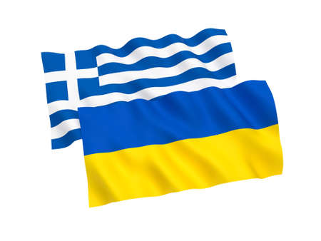 National fabric flags of Ukraine and Greece isolated on white background. 3d rendering illustration. Stock Photo