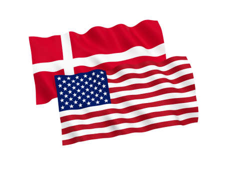 National fabric flags of Denmark and America isolated on white background. 3d rendering illustration. 1 to 2 proportion.