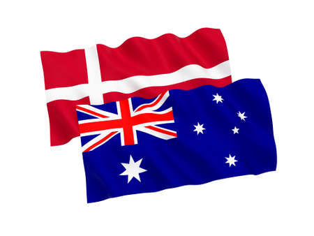 National fabric flags of Australia and Denmark isolated on white background. 3d rendering illustration. 1 to 2 proportion.