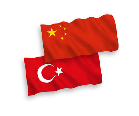 National vector fabric wave flags of Turkey and China isolated on white background. 1 to 2 proportion. 일러스트