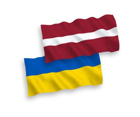 National vector fabric wave flags of Latvia and Ukraine isolated on white background. 1 to 2 proportion.